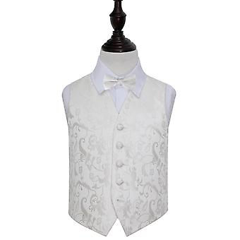 Ivory Floral Wedding Waistcoat & Bow Tie Set for Boys