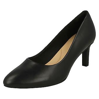 Ladies Clarks Textured Court Shoes Calla Rose - Black Smooth Leather - UK Size 8D - EU Size 42 - US Size 10.5M
