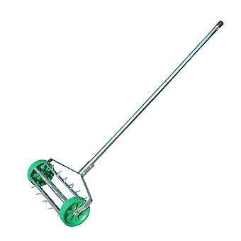Outsunny Garden Rolling Lawn Aerator Heavy Duty Steel Grass Roller w/ Adjustable Handle