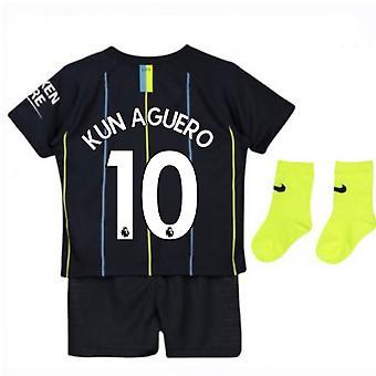2018-2019 Man City Away Nike Baby Kit (Kun Agüero 10)