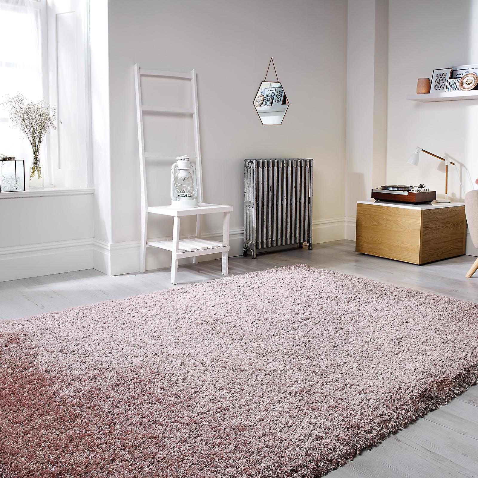 Perla alfombras Shaggy en color rosa oscuro | Fruugo ES