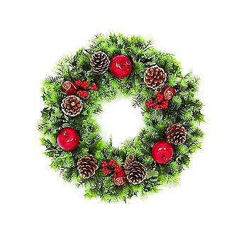 Premier Decorations Plastic Green Christmas Xmas Wreath with Decorative Glitter