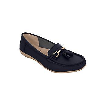 Dam Läder Slip på mockasiner bekväma platta tofs låg klack dagdrivare skor