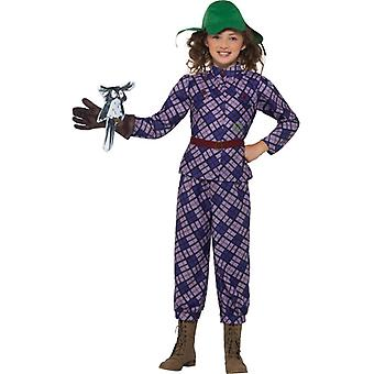 Deluxe David Walliams Kinder Kostüm schreckliche Tante Falknerin Awful Aunty lila Kinderkostüm