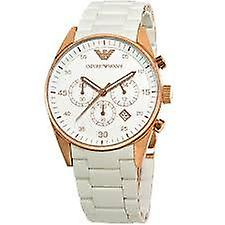 Armani watches ar5920 white and rose gold women's chronograph watch