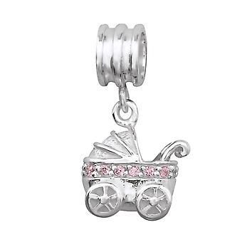 Carro de bebé - plata de ley 925 Jewelled granos - W14837X