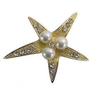कम कीमत गोल्डन तारामछली मोती & Rhinestones क्रिसमस उपहार ब्रोच