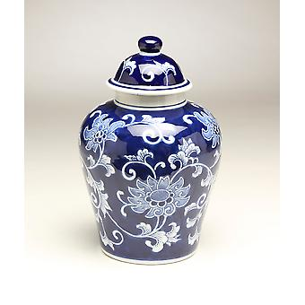 AA Importing 59946 10 Inch Blue & White Ginger Jar
