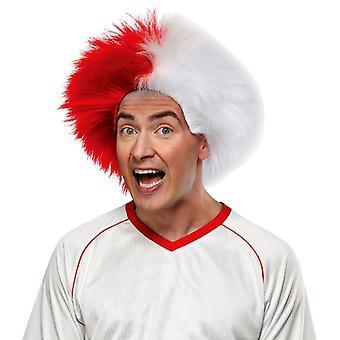 Peruca para esportes diversão vermelho, branco
