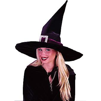 Witch Hat Blk Pleated Velour For All