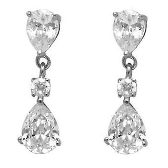 Ah! Jewellery Women's Double Pear Drop Crystals from Swarovski Earrings