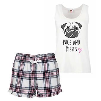 Pugs And Kisses Pink Tartan Pyjamas