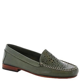 ليوناردو أحذية النساء & s المتسكعون اليدوية في العمل المفتوح الزيتون جلد العجل الأخضر