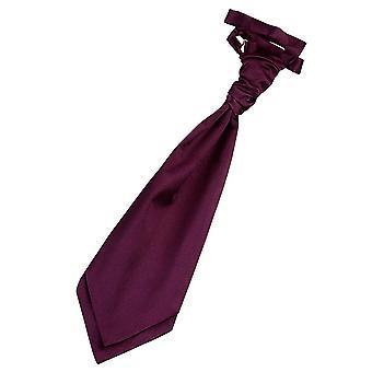Plum Plain Satin Pre-Tied Wedding Cravat