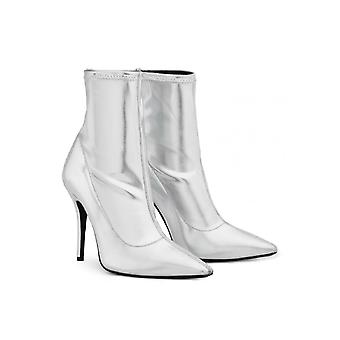 Giuseppe Zanotti Women's mid-calf stiletto booties in silver Soft leather