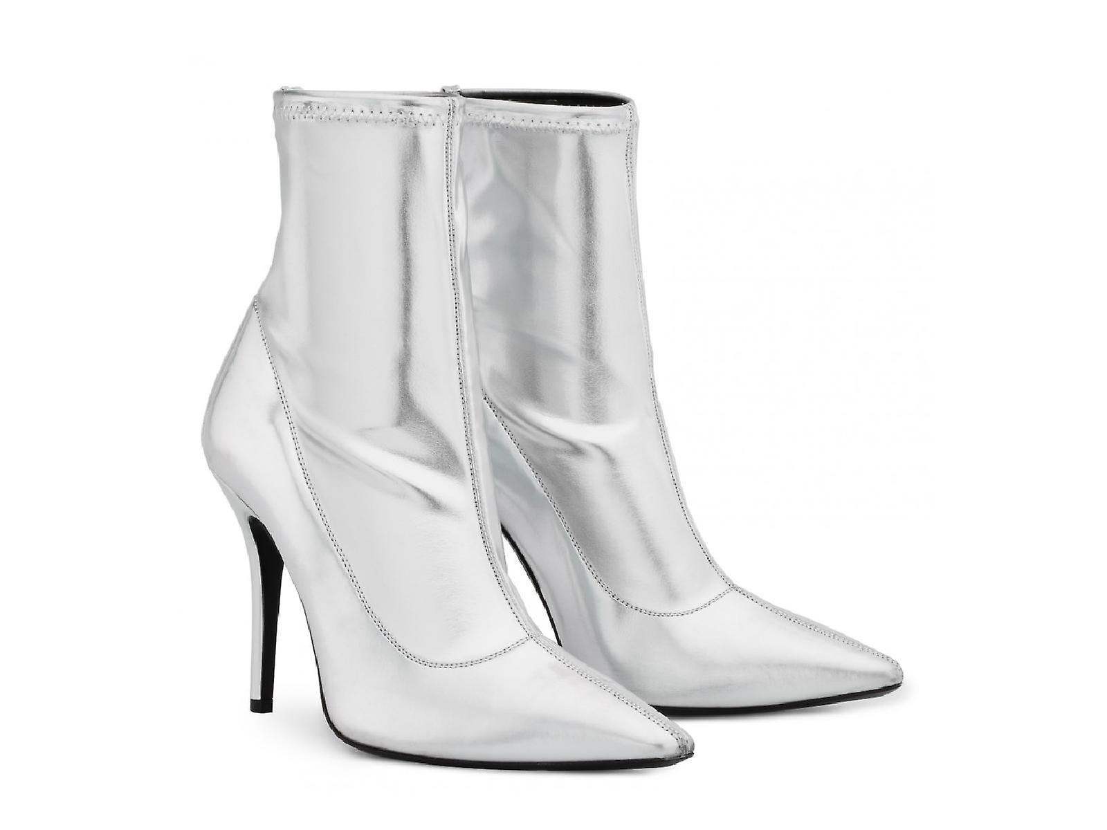 Giuseppe Zanotti Women's mid-calf stiletto booties in silver Soft leather LCROZ