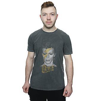 David Bowie Men es Aladdin Sane Gold Bolt Washed T-Shirt