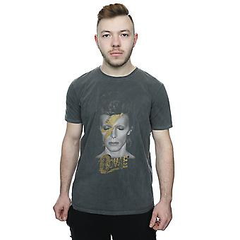 David Bowie Men's Aladdin Sane Gold Bolt Washed T-Shirt