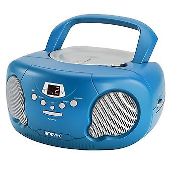 Groov-e Boombox Portable CD Player with Radio/Aux In/Headphone Blue (GVPS733BE)