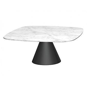 Gillmore Square Marble Coffee Table With Conical Black Base