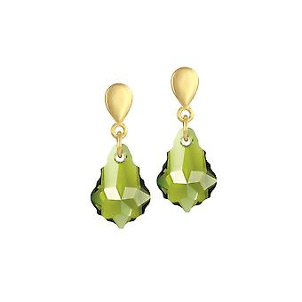 Eternal Collection Baroque Olivine Green Autrichien Crystal Gold Tone Drop Clip On Earrings