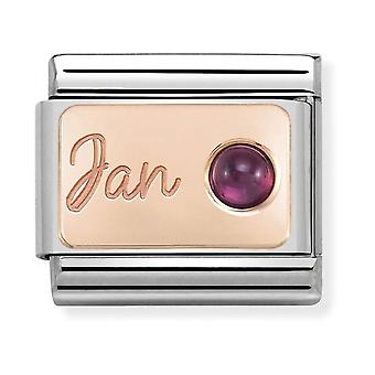 Nomination Classic January Birthstone Steel, Garnet and 9k Rose Gold Link Charm 430508/01