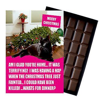 Schwarze britische kurzhaarige Katze Weihnachtsgeschenke Xmas Schokolade Geschenk Katze Liebhaber aus Oncocoa