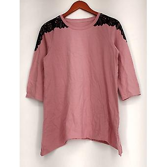 Denim & Co. Top 3/4 Sleeve Scoop Neck Trapeze Pink A267911