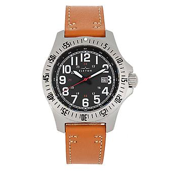 Elevon Aviator Leather-Band Watch w/Date - Camel/Black