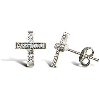 Jewelco London Ladies 9ct White Gold White Round Brilliant Cubic Zirconia Mini Cross Stud Earrings