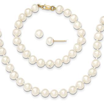 14k Geel Goud 5 6mm Zoetwater Gekweektparel Wit 5inch Armband 14in Ketting Oorbellen Set Sieraden Geschenken voor vrouwen