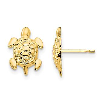 14k Yellow Gold Polished Turtle Post Earrings Jewelry Gifts for Women - .3 Grams