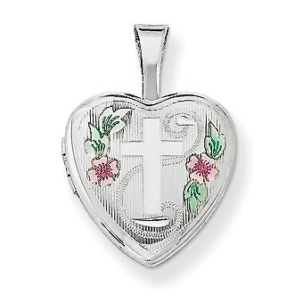 925 Sterling Silver Textured Polished Sparkle Cut Holds 2 photos Religious Faith Cross With Enamel Flowers 12mm Love Hea