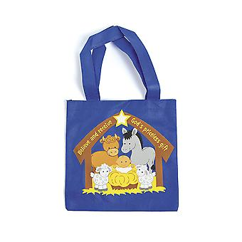 12 trykt lerret Christian Nativity dyr Christmas Party Tote Bager
