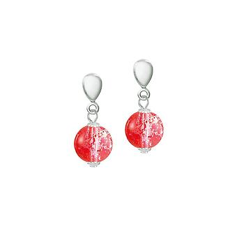 Eternal Collection Carnival Red Czech Glass Crackle Bead Silver Tone Drop Clip On Earrings