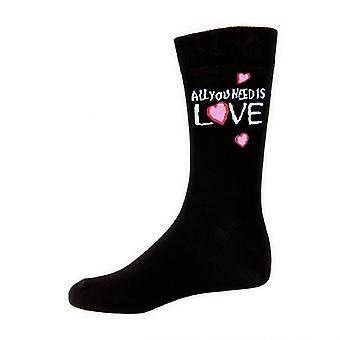 The Beatles Socks All You Need Is Love Official Womens New Black (UK Size 4-7)