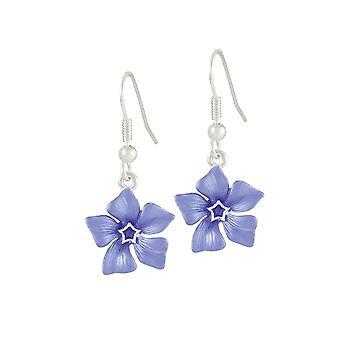 Eternal Collection Periwinkle Blue Enamel Flower Silver Tone Drop Pierced Earrings