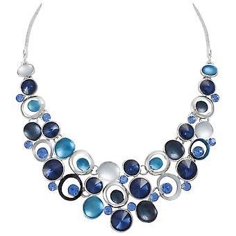 Evige samling livlig blå Multi emalje Crystal sølv Tone erklæring halskæde