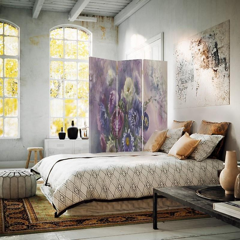 Diviseur de chambre, 3 panneaux, double-face, toile, bouquet de fleurs