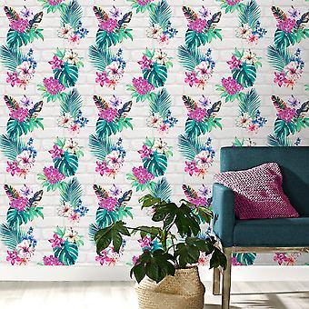 Camden Brick bloemen behang multi/licht grijs Accessorize 274805