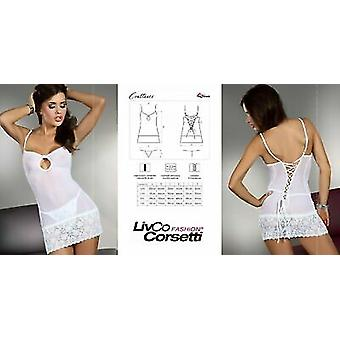 Livco Corsetti Sexy Lingerie 'Constance' See Thru White Lace Up Babydoll