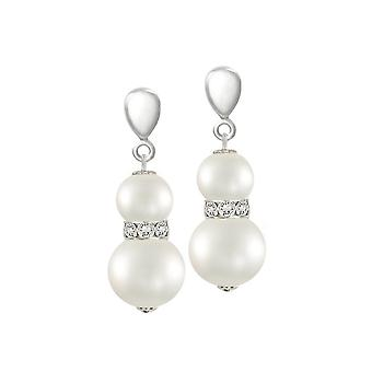 Eternal Collection Sierra White Shell Pearl & Crystal Silver Tone Drop Clip On Earrings