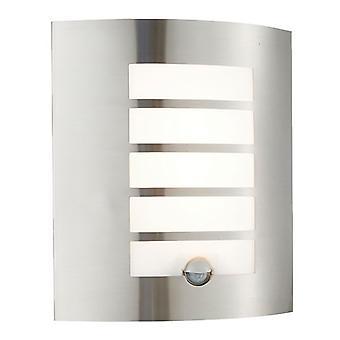 Saxby belysning Bianco LED PIR integrerad LED PIR 1 ljus Utomhus vägg ljus borstat rostfrittstål, opal polypropen IP44 75931