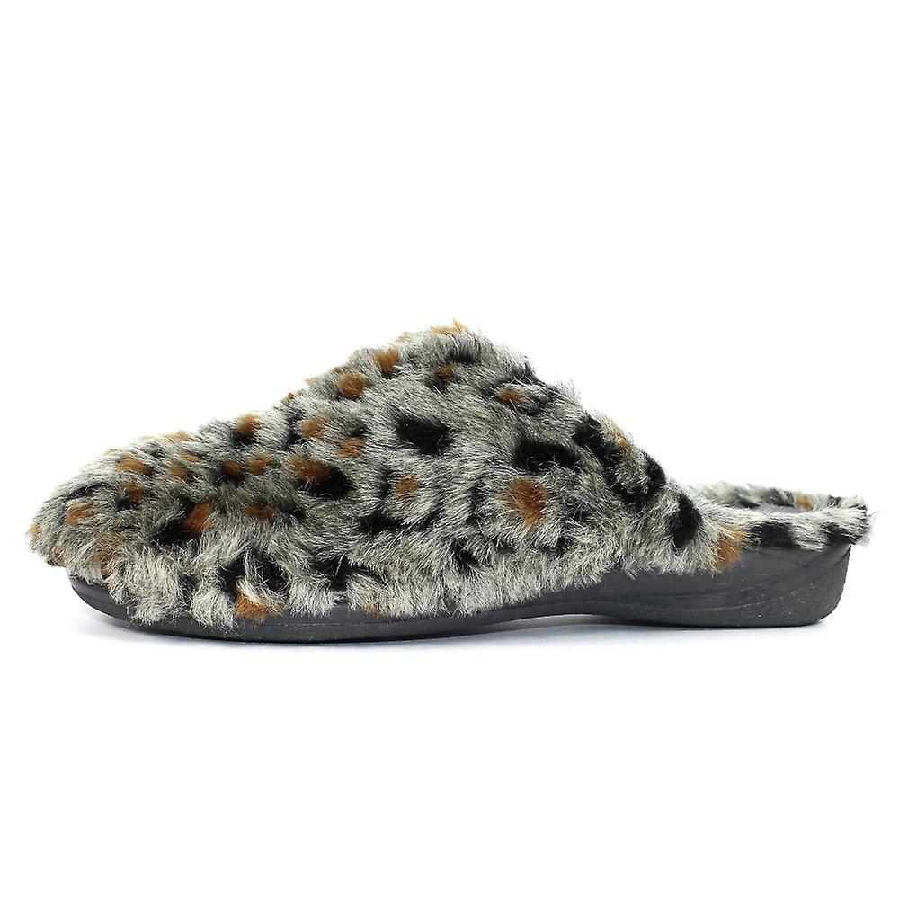 Slipper Republic Estella Grey Leopard Slipper