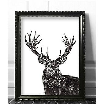 Stag Deer Wall Art Picture Print Framed Poster Modern Decor Black and White