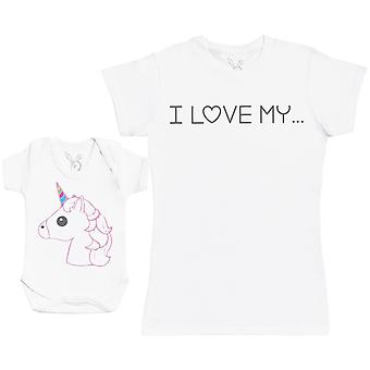 私は私のユニコーンマッチング母の赤ちゃんのギフトセットが大好き - 女性Tシャツ&ベビーボディスーツ