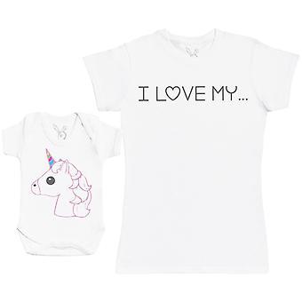 I Love My Unicorn Matching Mother Baby Gift Set - Womens T Shirt & Baby Bodysuit