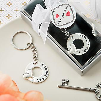 I Love You More silver metal key chain with embossed heart design