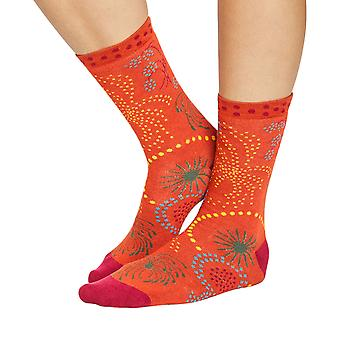 Fireworks women's soft bamboo crew socks in terracotta   By Thought