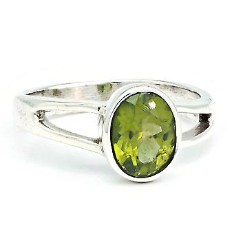 Peridot Ring 925 Silver Sterling Silver Silver Women's Ring Green (IRM 180-59)